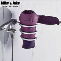 [Visit to Buy] Bathroom shelf dryer rack with holder hair dryer rack Households Rack Hair Blow Dryer Holder Aluminum Shelf Bathroom Accessories #Advertisement