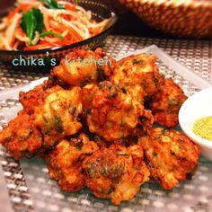 Home Recipes, Asian Recipes, Cooking Recipes, Healthy Recipes, Ethnic Recipes, Healthy Food, Cafe Food, Food Menu, Prawn Fritters