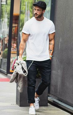white t-shirt outfit ideas for men. #mens #fashion #style