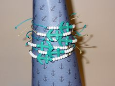Turquoise Anchors with white & silver seed beads.  Unisex & Adjustable