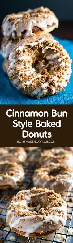 Cinnamon Bun Style Baked Donuts! Moist and fluffy cinnamon bun donuts that are covered in cinnamon glaze, cinnamon crumbles, and vanilla frosting.   HomemadeHooplah.com