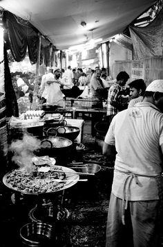 Early in the morning during the Muslim  celebrations of Ramzan, streets are lined up with delicious kebabs and haleem early in the morning before the sun rises. An experience in itself.. In Bangalore, India #India
