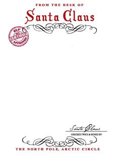 From The Desk Of Santa Claus Stationary 1000+ ideas about santa letter ...