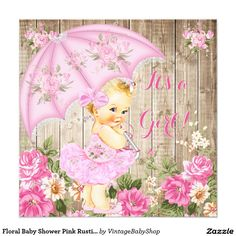 Floral Baby Shower Pink Rustic Wood Girl Blonde Card