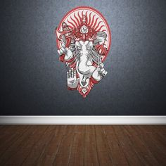 Full Color Wall Decal Mural Sticker Art Paintings Indian Ganesh Om Lotos Elephant Lord Hindu Success Buddha India Col152 * Check out this great product.