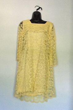 Sweet yellow lace flowing 1960's dress.