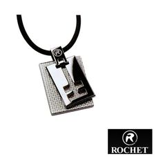 "Rochet Shine Pendant Necklace Textured Stainless Steel Rochet. $55.95. Stainless Steel. Synthetic Rubber. Length: 20"". Pendant: 1 3/4"" x 1"". Rochet Pendant. Save 30%!"