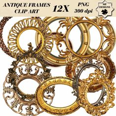 Antique and Vintage round frames clip art  by MFARTSTUDIO on Etsy, £1.90