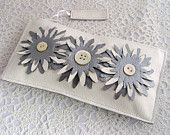 White leather wedding bridal purse with trio of embellished white & silver leather flowers. with vintage buttons.something old