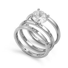 Aida's 2CT Brilliant Cut Solitaire Cubic Zirconia Wedding Ring Set