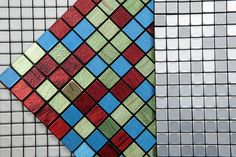 Mosaic-tiles-by Mozenzi.  These lightweight, easy to use mosaic materials have a PVC core with a fire resistant top layer of aluminum oxidant. The mosaic tiles are finished with a self-adhesive layer.