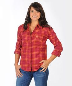 Take a look at this Maroon & Orange Virginia Tech Boyfriend Plaid Button-Up - Women by University Girls Apparel on #zulily today!