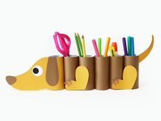 Toilet Paper Roll Crafts - Get creative! These toilet paper roll crafts are a great way to reuse these often forgotten paper products. You can use toilet paperDIY dog desk organizer from paper tubes - cute kids project!Cute story/poem display ideas f Kids Crafts, Preschool Crafts, Projects For Kids, Diy For Kids, Easy Crafts, Diy And Crafts, Craft Projects, Arts And Crafts, 3 Kids