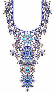 Ladies Fashion Neck Embroidery Design
