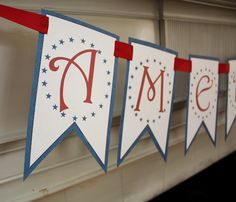 America banner free printable for July Patriotic Crafts, Patriotic Party, Patriotic Decorations, July Crafts, 4th Of July Party, Fourth Of July, Holiday Crafts, Patriotic Bunting, Holiday Decorations