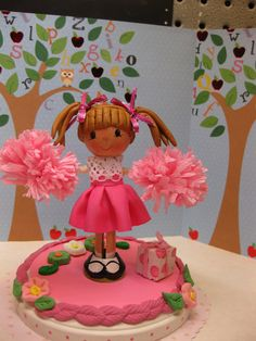 Cheerleader Clothespin Doll Cake Topper by paintedbybecky on Etsy, $30.00