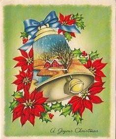 Vintage Greeting Card Christmas Bells Poinsettia Landscape Houses L130