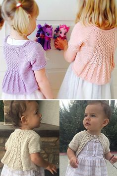 Patterns Shrug Knitting Pattern for Marian Shrug for Baby through Adult - Marian is a feminine open cardigan/shrug, and has a flared lace back panel. 3 patterns in sizes from newborn to adult. Designed by Taiga Hilliard Designs. Baby Cardigan Knitting Pattern Free, Shrug Pattern, Toddler Knitting Patterns Free, Free Pattern, Lace Knitting, Knit Baby Sweaters, Girls Sweaters, Knitted Baby, Shrugs And Boleros