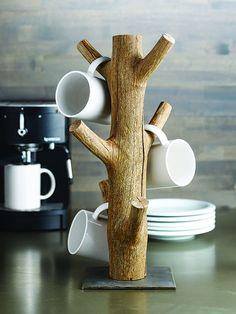 Cheyenne Mug Tree - Coffee Mug Holder - Jewelry Holder - Jewelry Organizer - Kit. Diy Wood Projects, Wood Crafts, Woodworking Projects, Woodworking Basics, Coffee Mug Holder, Coffee Mugs, Coffee Tray, Espresso Coffee, Deco Cafe