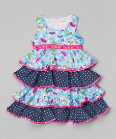 Another great find on #zulily! Blue Polka Dot Umbrella Ruffle Dress - Toddler & Girls #zulilyfinds