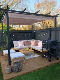 Decking with outdoor seating area corner sofa pergola and bbq by Lucky Plot 13 Pergola D'angle, Pergola Garden, Backyard Garden Design, Small Garden Design, Pergola Kits, Deck Patio, Patio Table, Backyard Ideas, Balcony Garden
