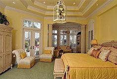 Great Traditional Master Bedroom...love the ceiling
