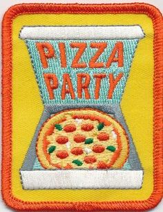 Girl Boy Cub Pizza Party Box Large Fun Patches Crests Badges Scout Guide Iron On | eBay