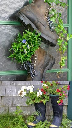 Recycle old shoes as planters Garden Junk, Garden Planters, Garden Crafts, Garden Projects, Old Boots, Cowboy Boots, Pot Jardin, Recycled Garden, Recycled Planters