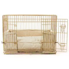 The Lords and Labradors Cushion and Bed Bumper set. Made in our iconic regency stripe this set will turn your unsightly and cold crate into a