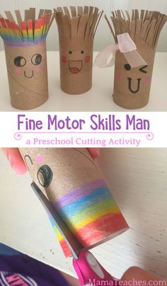Cutting Activity for Preschoolers: Fine Motor Skills Man – Mama Teaches – k b – art therapy activities Preschool Fine Motor Skills, Fine Motor Activities For Kids, Motor Skills Activities, Art Therapy Activities, Preschool Learning Activities, Toddler Activities, Fun Activities, Kids Motor, Art Activities For Preschoolers