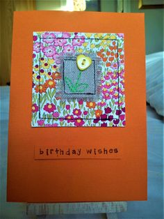 Handmade sewn card made with Moda fabric, linen and a heart button Fabric Postcards, Fabric Cards, Paper Cards, Diy Cards, Embroidery Cards, Free Motion Embroidery, Flower Birthday Cards, Flower Cards, Holiday Cards