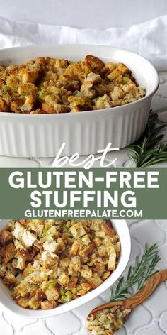 Recipe for the BEST gluten-free stuffing using only ten ingredients, no eggs and a dairy-free option. #glutenfree #stuffing #turkeystuffing #stuffingrecipe