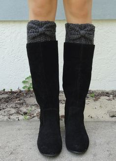 Charcoal Gray Bow Boot Cuffs, Crocheted, Handmade Womens Accessory, Women's Size SMALL or MEDIUM--Made to Order on Etsy, $16.95