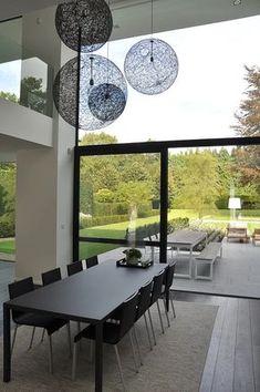 House VGL Belgium - Dining room by vlj architecten modern Interior Decorating, Interior Design, Dining Room Design, Inspired Homes, Home Decor Furniture, Modern House Design, Living Room Interior, Home And Living, Interior Architecture