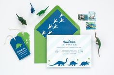 Celebrate your child's special day with our collection of exclusive invitation designs. Our darling dinosaur invitations are 5