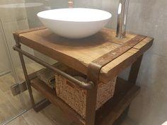 fürdőszobapult Industrial Loft, Industrial Design, Loft Design, Wabi Sabi, Rustic Furniture, Kitchen Sink, Bathroom Ideas, Sweet Home, Wood