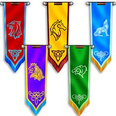 These Fantasy Knights Castle Banners have the look of authentic castle flags. You will receive 5 cardboard banners that are printed on one side. Fantasy Castle, Medieval Fantasy, Flag Design, Banner Design, Knights And Castles Topic, Medieval Banner, Cardboard Sword, Castle Party, Knight Shield