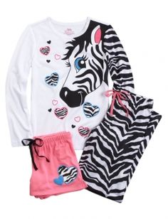 Shop Zebra Pajama Set and other trendy girls sleepwear sleep & undies at Justice. Find the cutest girls sleep & undies to make a statement . Justice Pjs, Justice Girls Clothes, Justice Clothing, Shop Justice, Justice Emoji, Cute Sleepwear, Girls Sleepwear, Girls Pajamas, Cute Comfy Outfits