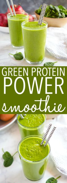 This Healthy Green Protein Smoothie makes the perfect healthy breakfast or post-workout snack! It's packed with greens, healthy fruits, a. Green Protein Smoothie Recipe, Smoothie Detox Plan, Easy Smoothie Recipes, Easy Healthy Recipes, Juice Recipes, Drink Recipes, Sweet Recipes, Salad Recipes, Healthy Snacks