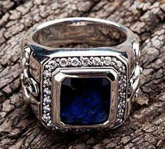 BIG TRIBAL CROSS BLUE SAPPHIRE 925 STERLING SILVER MENS RINGS ~NEW HIGHEST QUALITY 100% SOLID STERLING SILVER, HEAVY & THICK,STAMP .925 TRADEMARK INSIDE TH