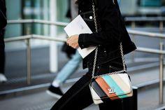 Julia Gall wearing double denim and Louis Vuitton bag at Paris Fashion Week