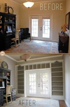 Ikea Shelves Into Built-in Bookcases :: I really love this. You could turn any room into a library with this idea. by ayorca