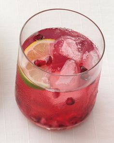 Pomegranate Caipiroska - Ingredients  1 cup pomegranate seeds 1/4 cup superfine sugar 1 lime cut into 16 wedges 16 ounces vodka 8 ounces seltzer Directions  STEP 1 Divide seeds, sugar, and lime among 8 glasses; muddle until sugar dissolves. Top with vodka, ice, and seltzer.