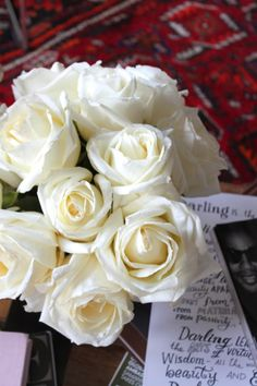 white roses...