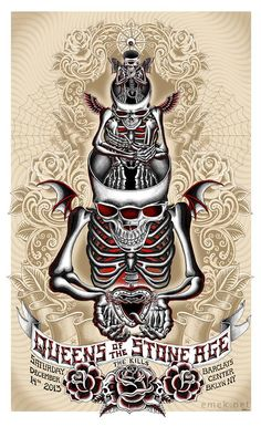"""Queens of the Stone Age – Brooklyn, NY 2013″ by Emek. 22″ x 36″ Screenprint. Ed of 100 S/N. $100"