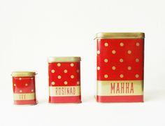 Polka dot tin canisters Soviet Vintage USSR by MerilinsRetro, $24.00