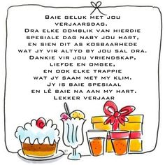 Birthday Wishes Messages, Happy Birthday Wishes, Beautiful Birthday Quotes, Baie Dankie, Happy Birthday Brother, Afrikaanse Quotes, Happy Birthday Pictures, Happy B Day, Birthday Party Decorations