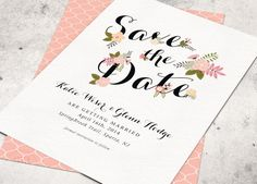 FLORAL BLOOM WEDDING Save the Date Card - Hand Drawn Flowers with Calligraphy -  Printable Designs