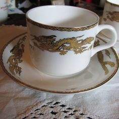Oriental Dragon Theme DEMITASSE CUPS and SAUCERS by MedlinAntiques