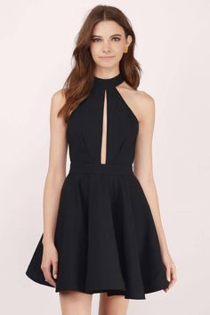 Light the fire with the Midnight Lover Halter Skater Dress. Mock neck halter dress with a skater, flared skirt and front keyhole. Features back cut ou - Fast & Free Shipping For Orders over $50 - Free Returns within 30 days!